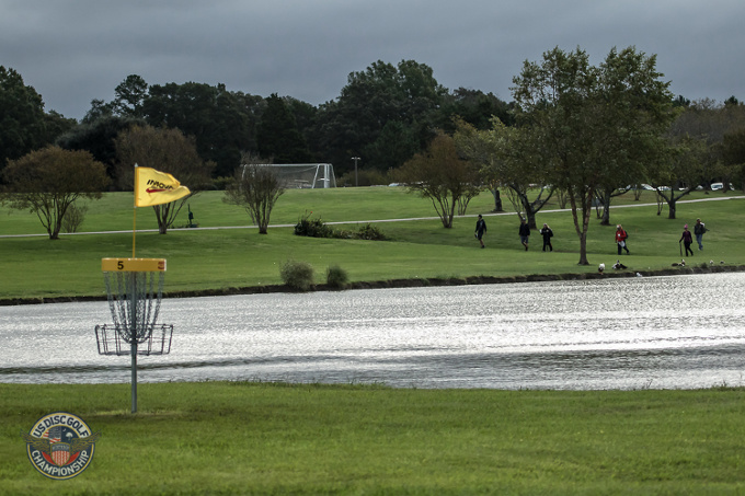Wind can be quite the factor during Monday Qualifying. Here, Hole 5's attests to that.