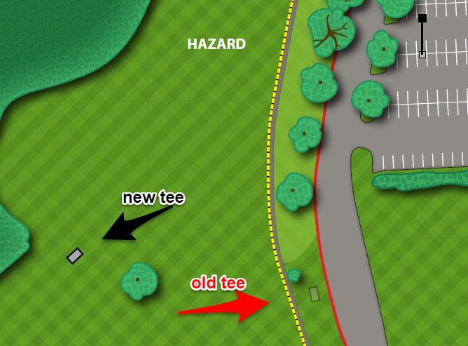 This close up of the tee area, shows how players will get a whole new look at 888' with the new tee.