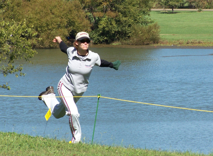 Juliana Korver driving on Hole 18 at the 2004 USDGC
